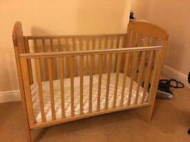 Mothercare Pine wood Cot and mattress