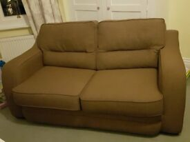 Sofa 2 seater fabric brown excellent condition