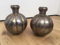 Large decorative metal vases £5 for the pair
