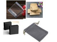 wholesale grey velvet gift pouches 7x9cm clearance 40p