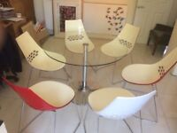 6 Calligaris dining chairs & table