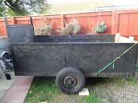 Good strong builders trailer motorcycle quad etc 8ftx4ft drop down tailgate recent new sides