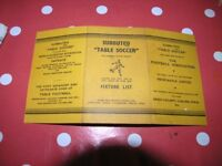Subutteo Yellow Fixture Card Weymouth Free Local Delivery