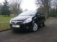 58 plate vauxhall corsa 5dr in black,with f.s.history,mot dec,new brakes alround