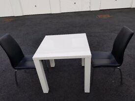 White High Gloss Kitchen Dining Table and 2 Leather Chairs