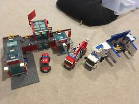 Lego fire station and police mobile unit