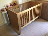 Mamas And Papas Mikado Oak Cot Bed, John Lewis Mattress And Changing Unit.