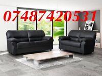 LUXURY BLACK 3+2 CANDY LEATHER SOFA £349
