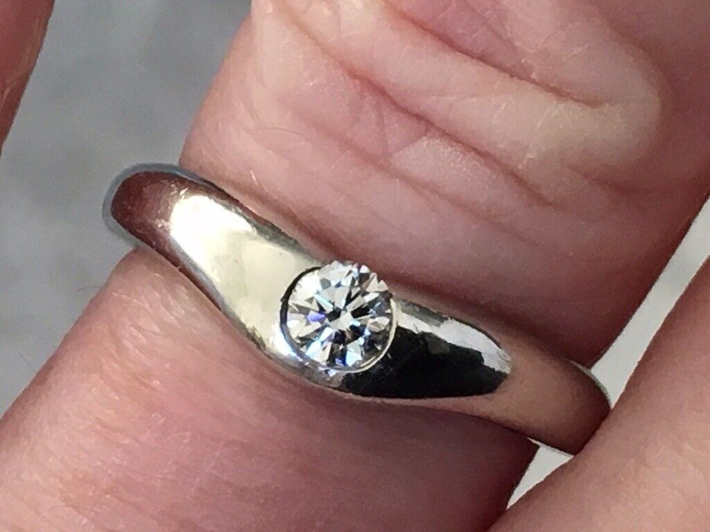 Tiffany and co platinum diamond ring size m 7.3 grams | in ...