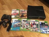 Xbox360+6 Games+controller+racing wheel