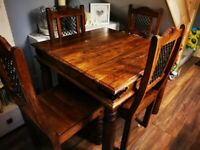 SOLID WOODEN DINING TABLE AND 4 CHAIRS
