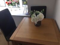 Luxury oak table and 2 chairs