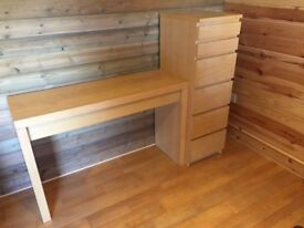 Ikea set of 6 drawers with mirror and dressing table