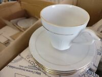 NEW - White tea/coffee cup set with gold trim (6 cups and saucers)