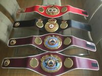 1xIBF 1xWBA 2xWBO replica`boxing belts, £6000 new