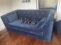 Made Flynn 2 Seater Blue Velvet Sofas Unused