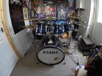 Tama Rockstar 7 piece & Tama Speedcobra double pedal with lots of cymbals