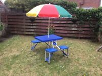 Garden Table Pinic Accessory with Parasol Folds into case.