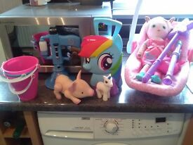 My little pony carry case ,doll in car chair , and more