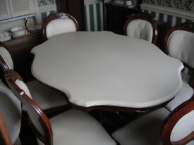 Luxury Leather Topped Dining Table & 6 Carver Chairs
