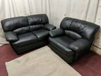 Black leather 2 and 1 seater sofas
