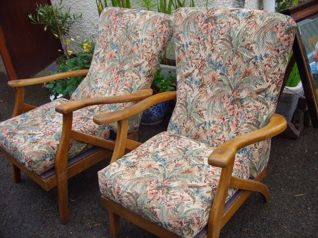 Strange Two Antique Vintage Recliner Chairs Lounge Armchairs C 1920 Machost Co Dining Chair Design Ideas Machostcouk