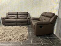 ScS Ex Display Recliner Brown Leather 3+2 Sofa Sette