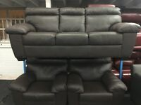 ScS New/Ex Display Brown Leather 3 Seater + 1 Seater + 1 Seater Sofas