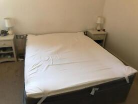 Kingsize Divan Bed, with mattress and memory foam topper.