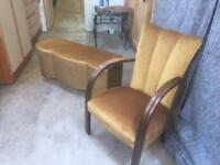 Vintage Gold Velvet Ottoman And Bedroom Chair