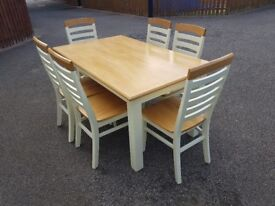 Natural Oak Solid Wood Table Cream Painted Legs Frame & 6 Chairs FREE DELIVERY 264
