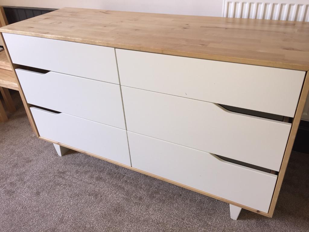 Ikea Askvoll White And Wood Six Drawer Dresser
