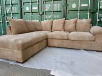 1 DAY SALE!!! NEW Latte Brown Beige Corner Chaise Cord Sofa DELIVERY AVAILABLE