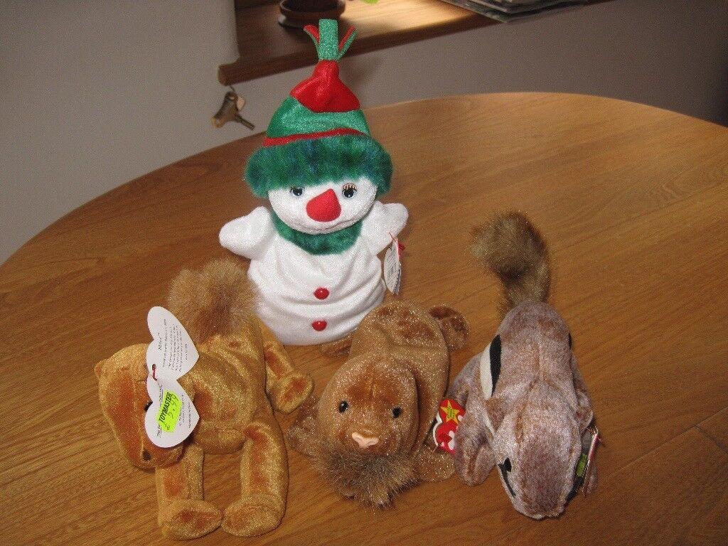 Ty Beanie Baby walrus, snow girl, camel & chipmunk