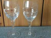 2 Lead Crystal Wine Glasses, excellent condition