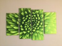 4 piece large green canvas