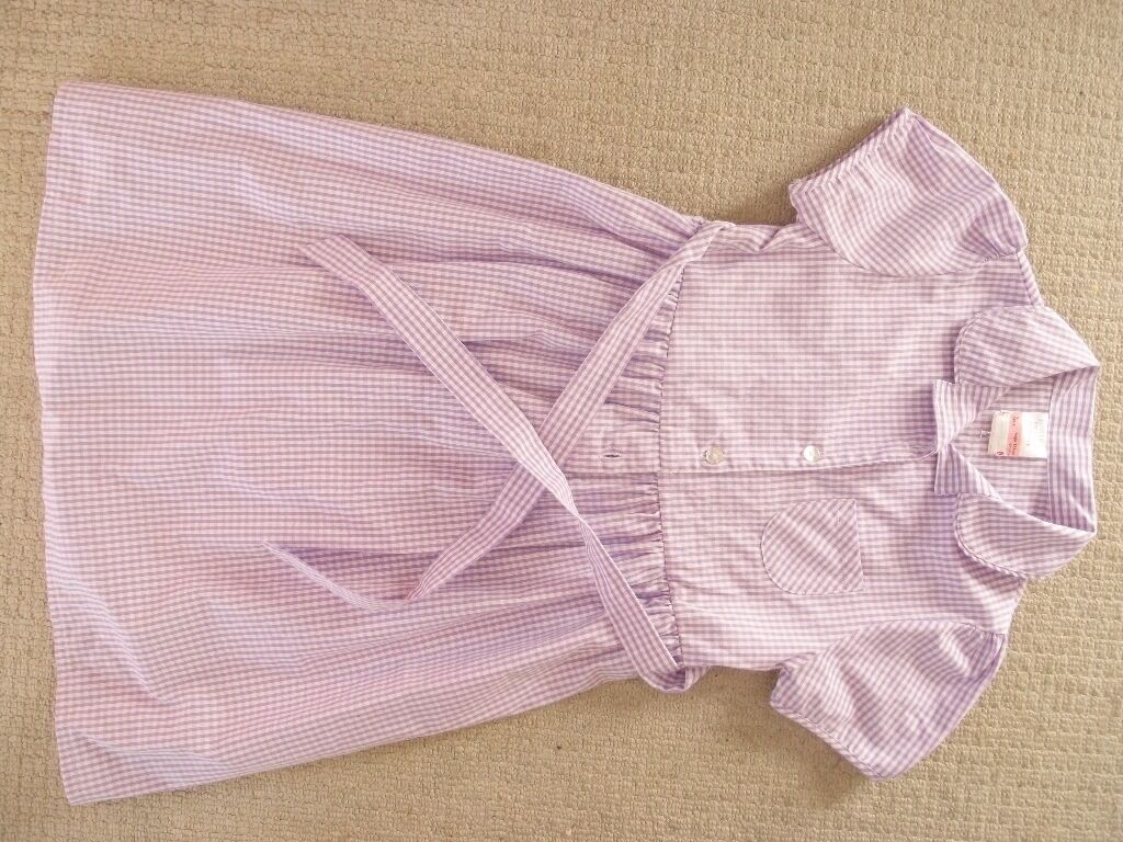 Two set purple chequered summer school dresses size 9 years