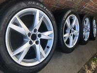 "As New 17"" Genuine Audi/VW Caddy Golf MK5 mk6 alloy wheels + tyres Maxi Touran 5x112 A4 CAN POST"