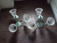matching pair ceiling lights x 2 ,both 3 arms green