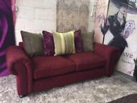 New Orkney 3 Seater Fabric Sofa In Claret With Scatter Back Cushions