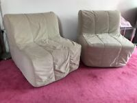 TWO Chairs that convert into single Beds - New Excellent Condition -