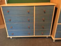 Small chest of Drawers and Tall Boy Wardrobe Unit with hanging rail