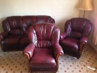 3 and 2 1 seater leather sofa in red
