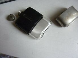Vintage/Antique leather covered glass hip flask with metal cup base which comes off,