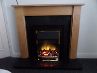 Electric fire suite with granite inset and hearth