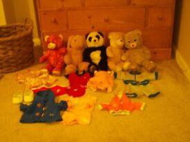 Build a bear bundle bears panda rabbit Frozen Anna shoes clothes and baby carrier