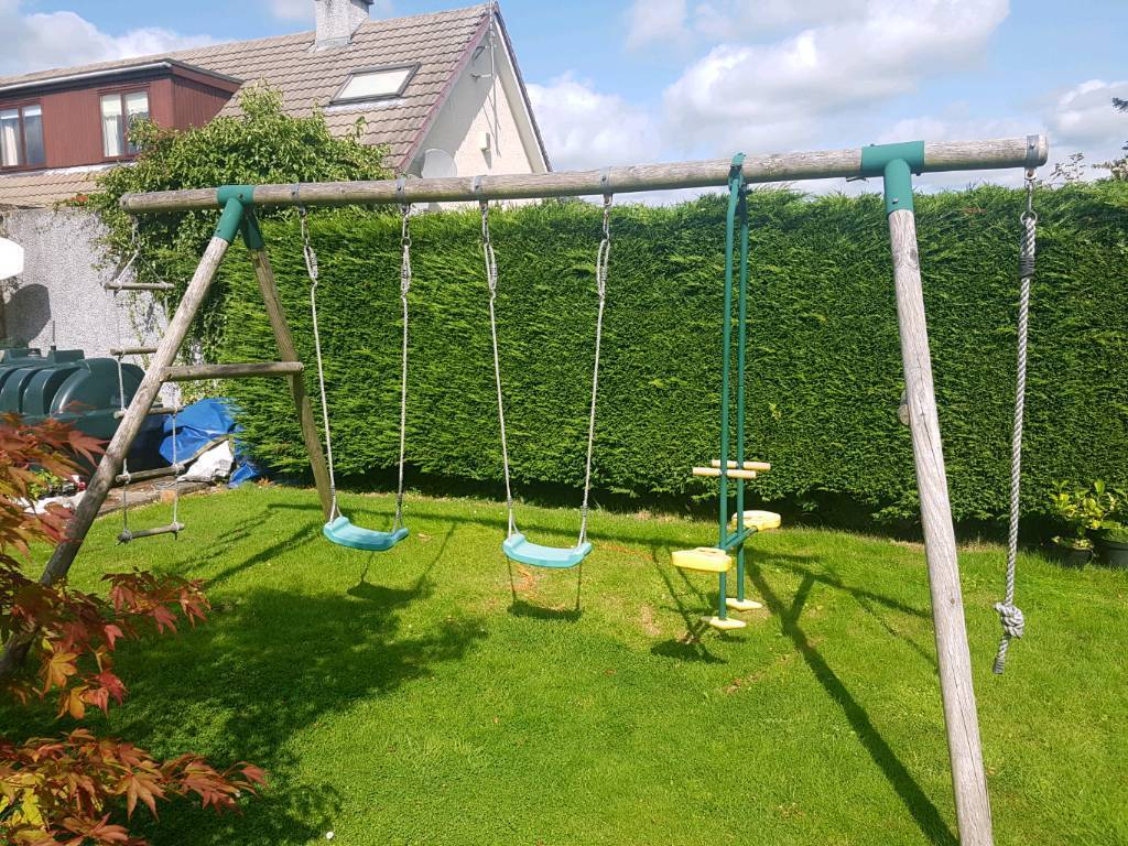 Wooden Frame Triple Swing Set By Plum With Rope Ladder In Stirling