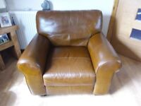 3 Piece leather suite and foot stool