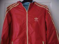 adidas reversible originals woman red aqua 12 size jacket