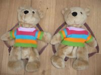 Bargain Two Brand New Teddy Bear Rucksacks Bags With Rear Zip CE Approved